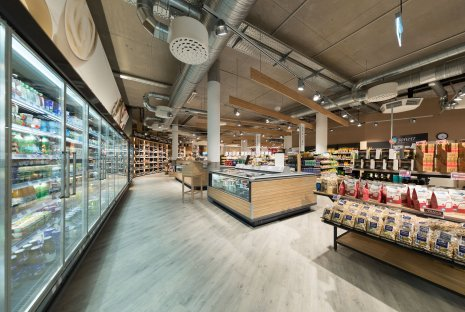 wineo Purline Bioboden Holzoptik Kühlregal Lebensmittel Biomarkt